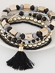 Bead Bracelet Boho Bracelet Candy Color Wrap Bracelet Strench Adjustable Ethnic Jewelry Tassel Multilayer Bangles 1PC Christmas Gifts