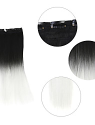 "Neitsi® 110g 22""Full Head 5clips Kanekalon Synthetic Hair Pieces Clip In/on Straight Extensions T-White#"