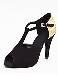 Women's Dance Shoes Salsa Satin / Sparkling Glitter Stiletto Heel