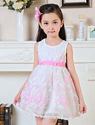 A-line Short/Mini Flower Girl Dress-Cotton / Tulle Sleeveless
