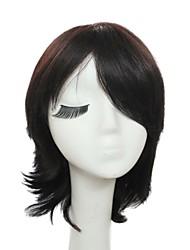 Capless Short Black Silky Natural Straight 100% Human Hair Wig
