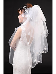 Wedding Veil Four-tier Fingertip Veils Cut Edge Tulle White