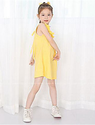 Girl's Casual/Daily Solid Dress,Cotton Summer Blue / Yellow