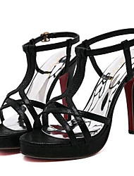 Women's Shoes Leatherette Stiletto Heel Heels Sandals Party & Evening Black / Silver / Gold