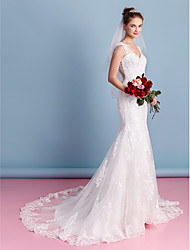 LAN TING BRIDE Trumpet / Mermaid Wedding Dress See-Through Court Train Sweetheart Tulle with Appliques
