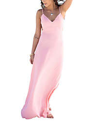 Women's Sexy Solid Sheath Dress,V Neck Maxi Backless Yellow Pink