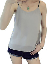 Women's Casual Strap Sleeveless Solid Tanks Tops