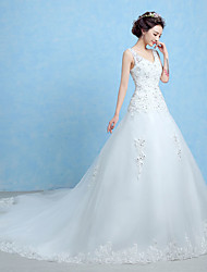 Princess Wedding Dress-White Cathedral Train V-neck Lace / Tulle
