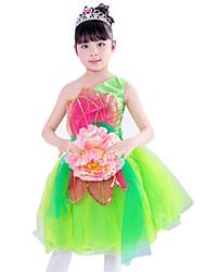Girl's Polyester Summer Big Flower Adornment One-shoulder Lace Dance Dress