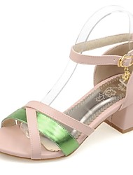 Women's Shoes Chunky Heel Heels / Peep Toe Sandals Party & Evening / Dress / Casual Blue / Green / Pink / White