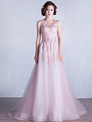 Formal Evening Dress-Blushing Pink A-line Jewel Sweep/Brush Train Lace / Tulle