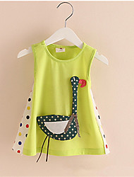 2016 Summer  Lovely Cartoon Animal Cotton Tank Dress Princess Baby Girl Childrens Dresses Clothing