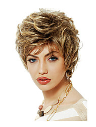 Women Bob Short Curly Wavy Fluffy Synthetic Hair Wigs Side Bang Blonde Heat Resistant