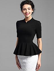Baoyan® Feminino Colarinho Chinês 1/2 Comprimento da luva Camisa Preta-150655