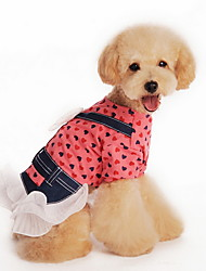 Cat / Dog Dress / Shirt Red / Yellow Summer Polka Dots / Bowknot Fashion, Dog Clothes / Dog Clothing-Lovoyager