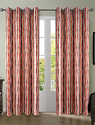 Chadmade SOFITEL Heat Transfer Print Vertical Stripe  Pattern - Nickle Grommet - Red Brown