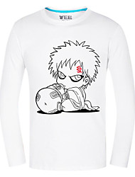 Inspirado por Naruto Gaara Anime Fantasias de Cosplay Tops Cosplay / Bottoms Estampado Branco Manga Comprida Top