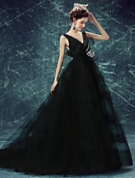 Formal Evening Dress A-line V-neck Sweep / Brush Train Tulle with