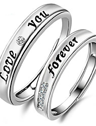 2pcs Sterling Silver Ring Love You Forever Couple Rings Adjustable Fashion Jewelry for Couple Wedding Engagement Ring