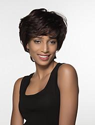 flauschigen kurze Haare der Frauen remy Menschenhaar Hand -top Perücke gebunden