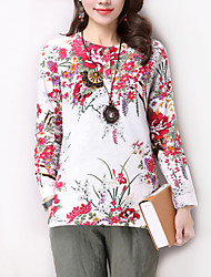 Women's Floral White Linen Blouse,Round Neck Long Sleeve