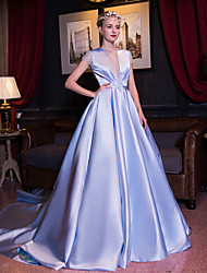 Formal Evening Dress-Lavender Ball Gown Jewel Cathedral Train Satin / Stretch Satin