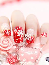 24pcs / set uñas falsas uñas falsas uñas de manicura consejos terminado nieve roja