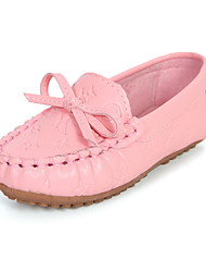Girl's Boat Shoes Spring Summer Fall Jelly Moccasin PU Dress Casual Flat Heel Bowknot Yellow Pink White