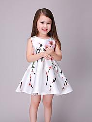 Menina de Vestido Verão / Primavera / Outono Rayon Preto / Branco
