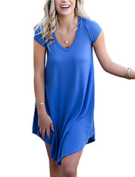 Women's Simple / Street chic Solid Loose Dress,V Neck Above Knee Polyester