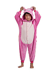 Kigurumi Pajamas Stitch / Monster Leotard/Onesie Halloween Animal Sleepwear Pink Patchwork Flannel Kigurumi KidHalloween / Carnival /