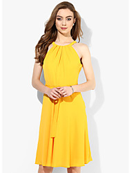 Women's Party/Cocktail Sexy / Street chic Chiffon Dress,Solid Halter Knee-length Sleeveless Yellow Rayon Summer