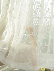Deux Panneaux Rustique Floral / Botanique Blanc Salle à manger Mélange Poly/Coton Sheer Rideaux Shades