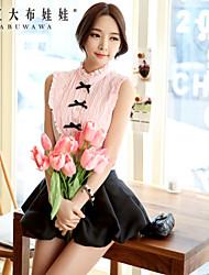 DABUWAWA® Mujer Escote Chino Sin Mangas Camisa y blusa Rosa / Morado-D15BST095