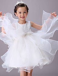 Ball Gown Knee-length Flower Girl Dress - Organza Sleeveless Jewel with Sash / Ribbon
