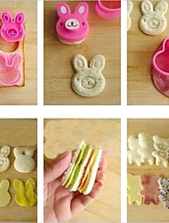 Cute Rabbit Bear Flower Sandwich Cookie Cutter Bread Buiscuit Mold Cake Decoration Bento Maker,Set of 3