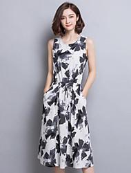 De las mujeres Recto Vestido Vintage Estampado Midi Escote Redondo Lino