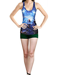 Women's Galaxy Blue Tanks,U Neck Sleeveless