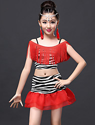Latin Dance Outfits Children's Performance Milk Fiber Tassel(s) 2 Pieces Zebra / Tiger Stripes / Leopard Print Latin Dance Skirt / Top