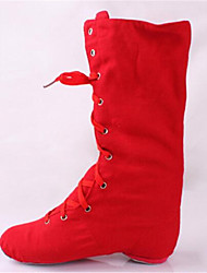 Non Customizable Women's Dance Shoes Leather Leather Jazz Boots Low Heel Practice Red