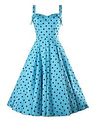 Mulheres Vestido Evasê Vintage Poá Médio Decote V Poliéster
