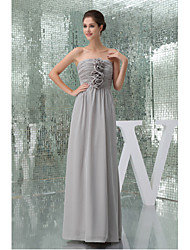 Floor-length Chiffon Bridesmaid Dress-Silver A-line Strapless