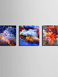 Carré Moderne/Contemporain Horloge murale,Autres Toile40 x 40cm(16inchx16inch)x3pcs/ 50 x 50cm(20inchx20inch)x3pcs/ 60 x