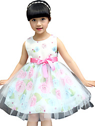 Girls Rose Flower Print Belt Lovely Party Pageant Casual Baby Children Clothing Dresses