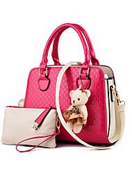Women PU Baguette Tote-Pink / Black