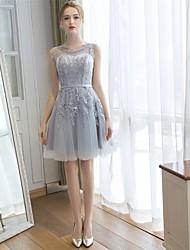 Knee-length Lace / Tulle Bridesmaid Dress - A-line Scoop with Appliques