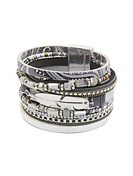 Fashion Women Multi Rows Stone Set Beaded Printed Leather Magnet Bracelet