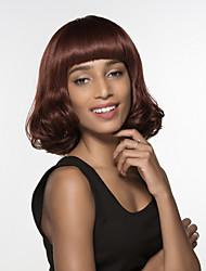 mão sem tampa Remy comprimento médio encantadora mulher ondulado amarrado peruca topo