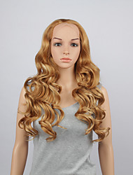 Fashion Synthetic Wigs Lace Front Wigs 28inch Wavy Yellow Heat Resistant Hair Wigs Women