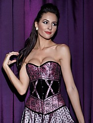 YUIYE® Sexy Purple Lace Trim Corset Busiter Basque Lingerie Underwear Corsets and Bustiers Boned Corset Tops